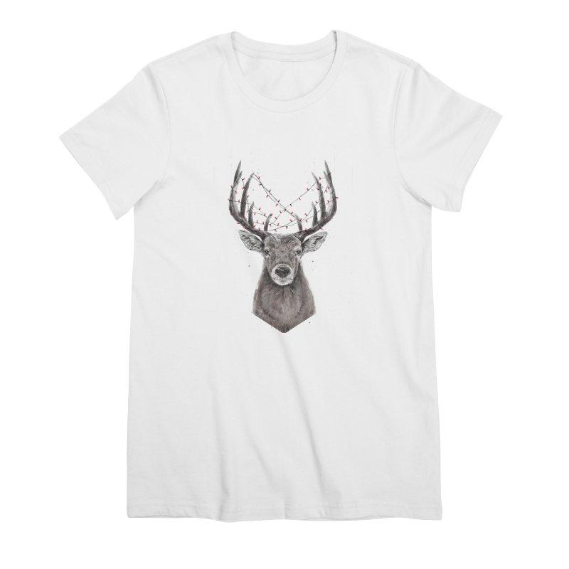 Xmas deer Women's Premium T-Shirt by Balazs Solti
