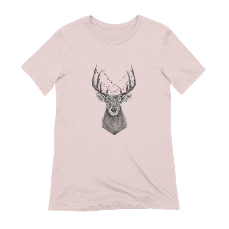 Xmas deer Women's Extra Soft T-Shirt by Balazs Solti