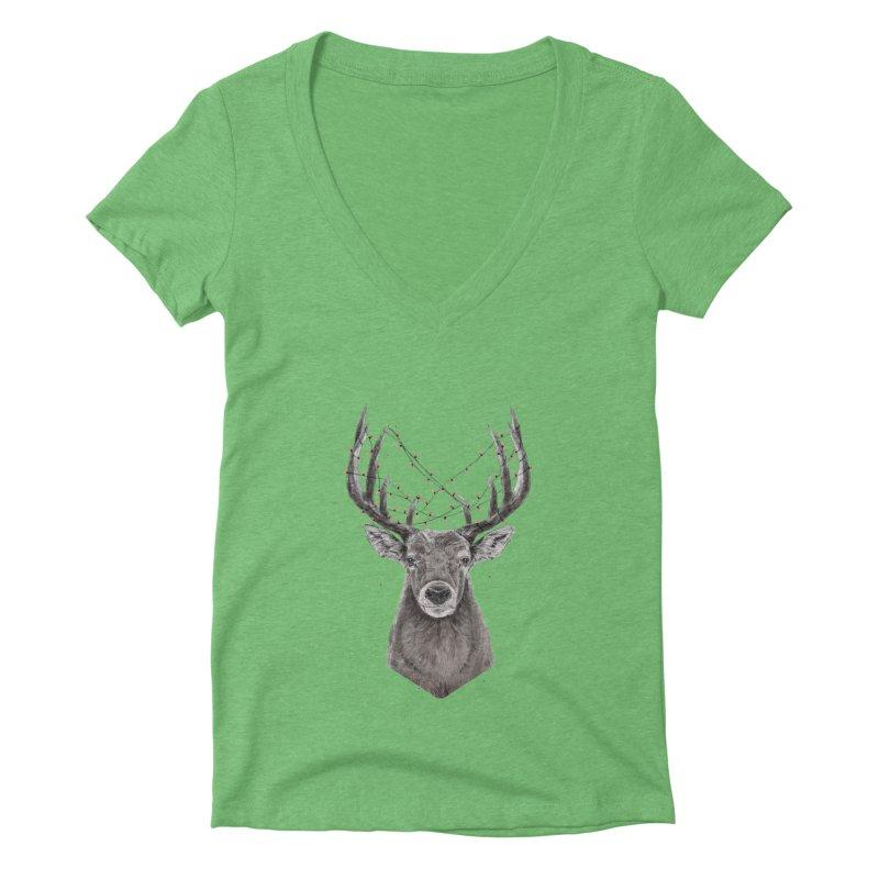 Xmas deer Women's Deep V-Neck V-Neck by Balazs Solti