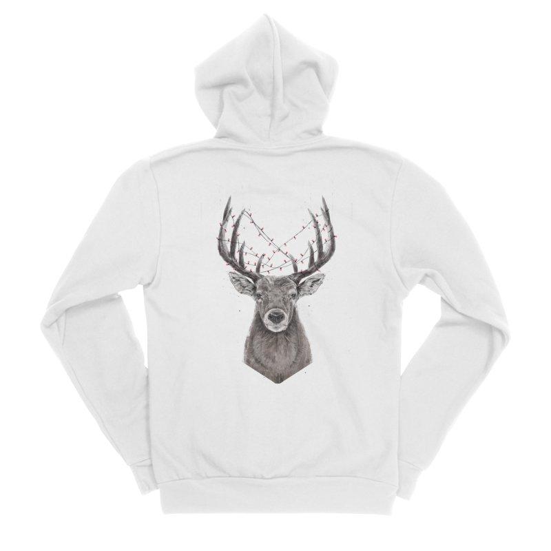 Xmas deer Men's Sponge Fleece Zip-Up Hoody by Balazs Solti