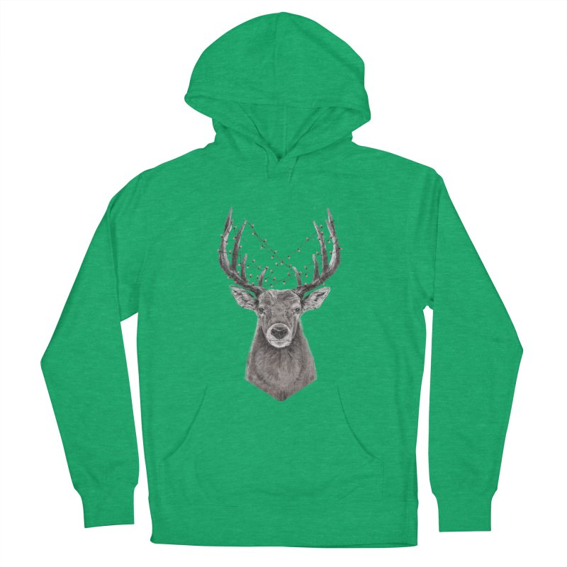 Xmas deer Men's French Terry Pullover Hoody by Balazs Solti