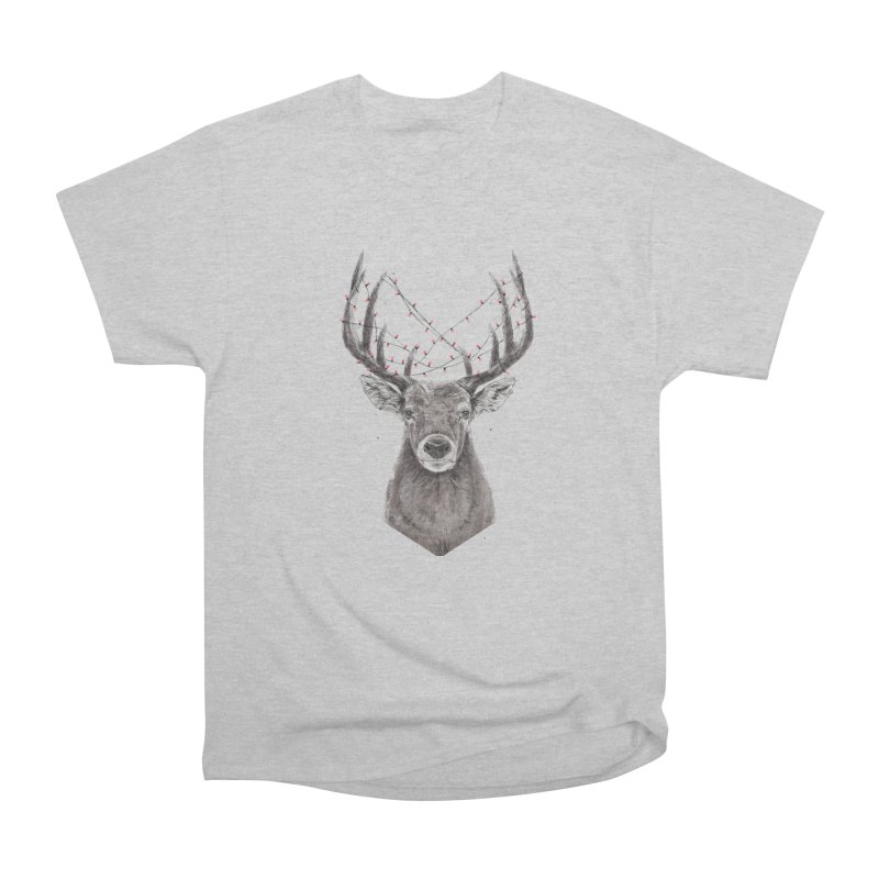 Xmas deer Women's Heavyweight Unisex T-Shirt by Balazs Solti