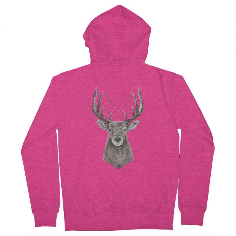 Xmas deer Women's French Terry Zip-Up Hoody by Balazs Solti
