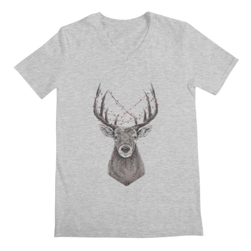 Xmas deer Men's Regular V-Neck by Balazs Solti
