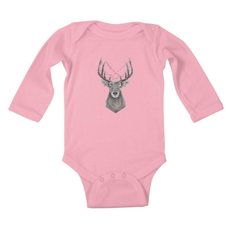 Xmas deer Kids Baby Longsleeve Bodysuit by Balazs Solti