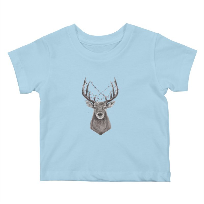 Xmas deer Kids Baby T-Shirt by Balazs Solti