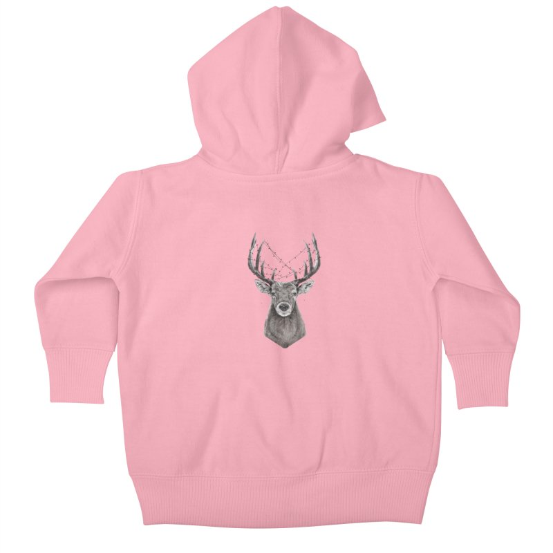 Xmas deer Kids Baby Zip-Up Hoody by Balazs Solti