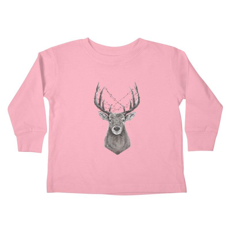 Xmas deer Kids Toddler Longsleeve T-Shirt by Balazs Solti