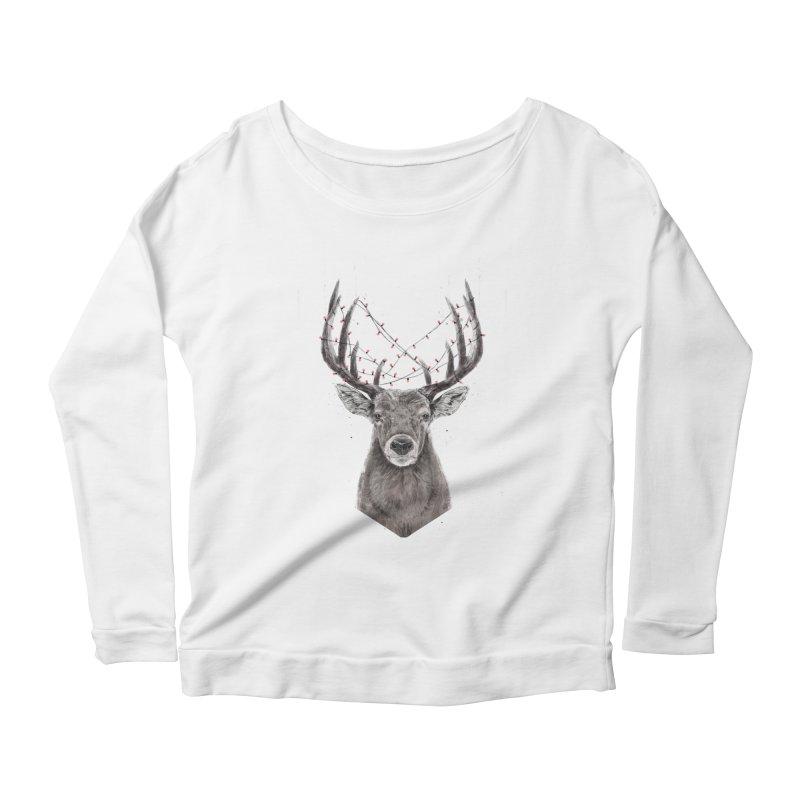 Xmas deer Women's Scoop Neck Longsleeve T-Shirt by Balazs Solti