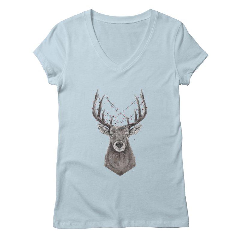 Xmas deer Women's Regular V-Neck by Balazs Solti