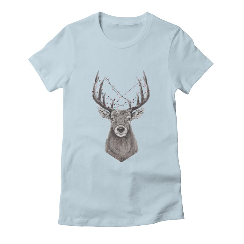 Xmas deer Women's Fitted T-Shirt by Balazs Solti