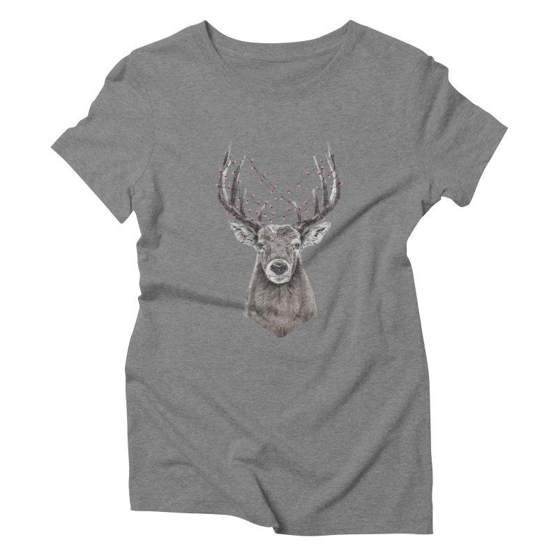 Xmas deer Women's Triblend T-Shirt by Balazs Solti
