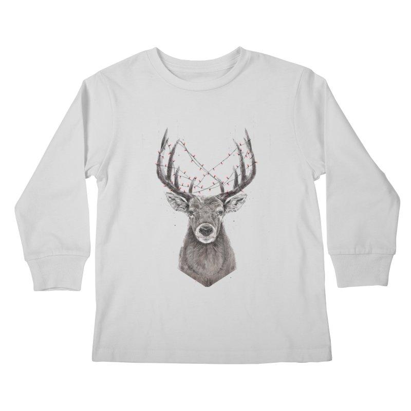 Xmas deer Kids Longsleeve T-Shirt by Balazs Solti