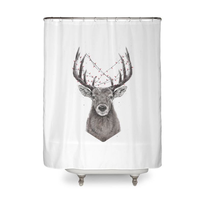Xmas deer Home Shower Curtain by Balazs Solti