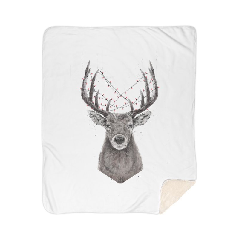 Xmas deer Home Blanket by Balazs Solti