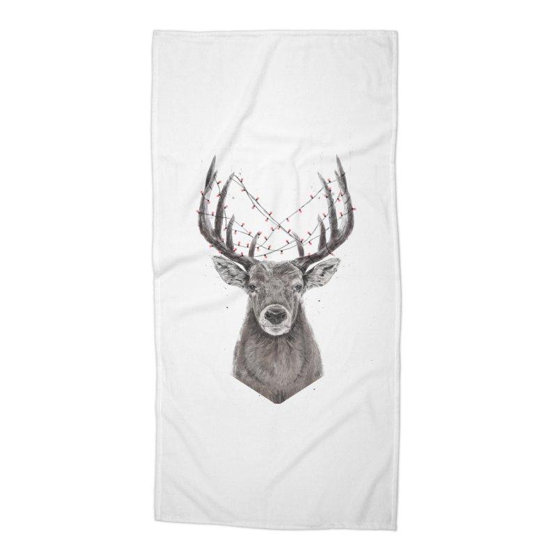 Xmas deer Accessories Beach Towel by Balazs Solti