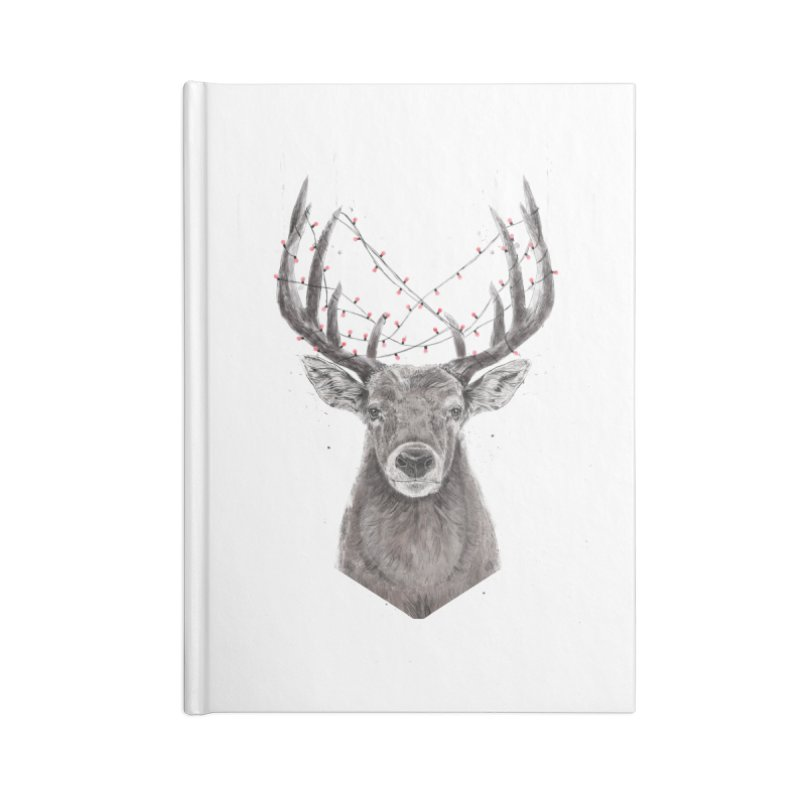 Xmas deer Accessories Blank Journal Notebook by Balazs Solti
