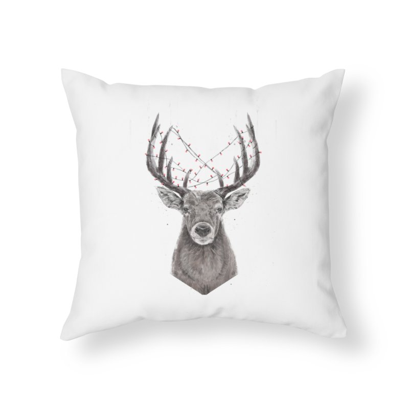 Xmas deer Home Throw Pillow by Balazs Solti