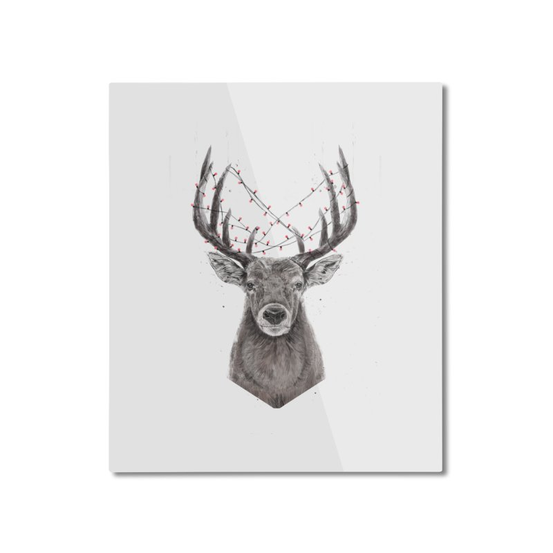 Xmas deer Home Mounted Aluminum Print by Balazs Solti