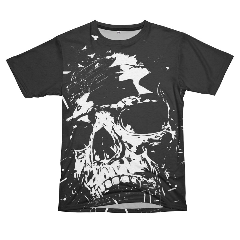 Skull X (bw) Men's French Terry T-Shirt Cut & Sew by Balazs Solti