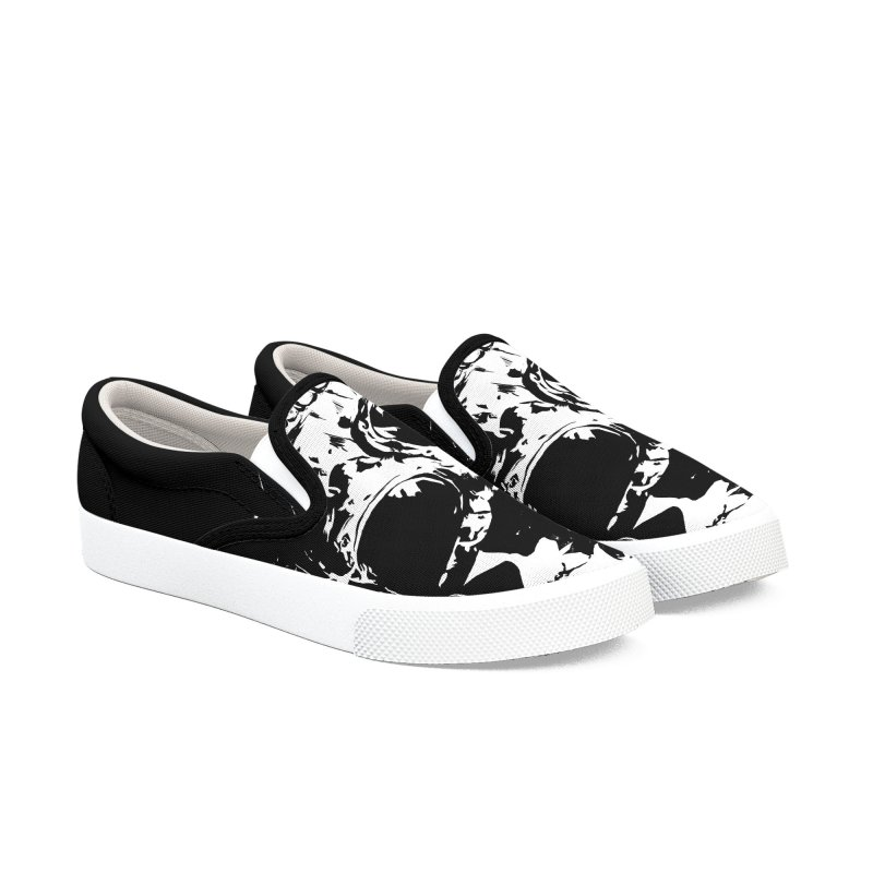 Skull X (bw) Men's Slip-On Shoes by Balazs Solti