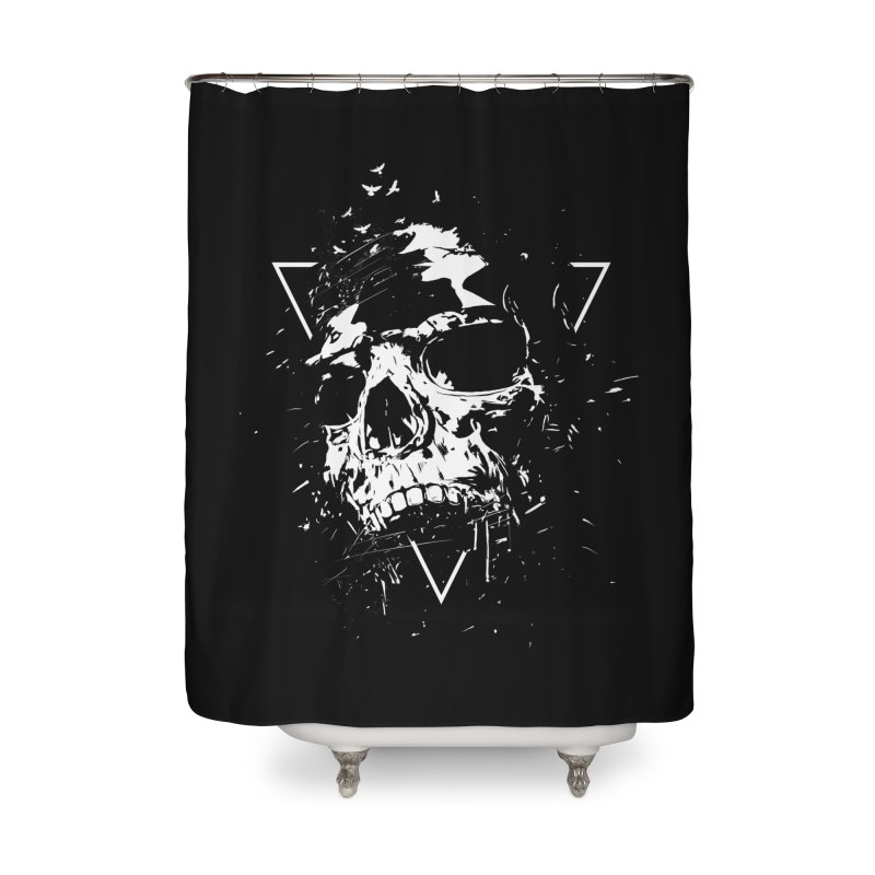 Skull X (bw) Home Shower Curtain by Balazs Solti