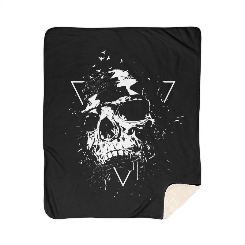 Skull X (bw) Home Sherpa Blanket Blanket by Balazs Solti