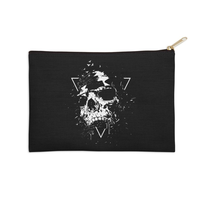Skull X (bw) Accessories Zip Pouch by Balazs Solti