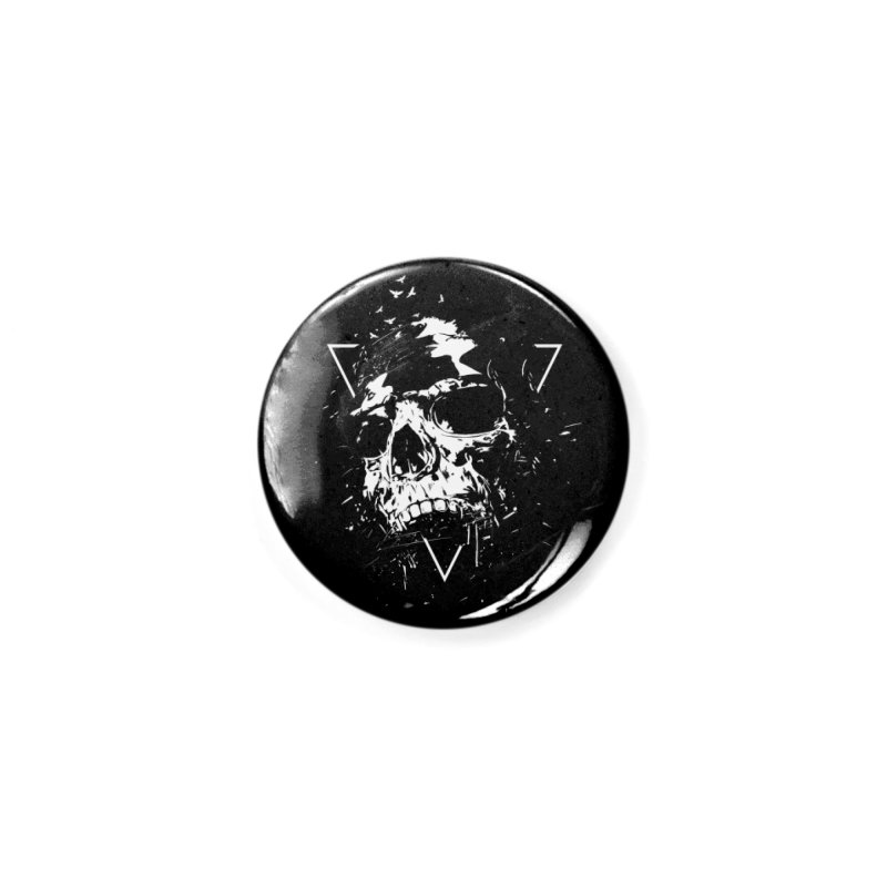 Skull X (bw) Accessories Button by Balazs Solti