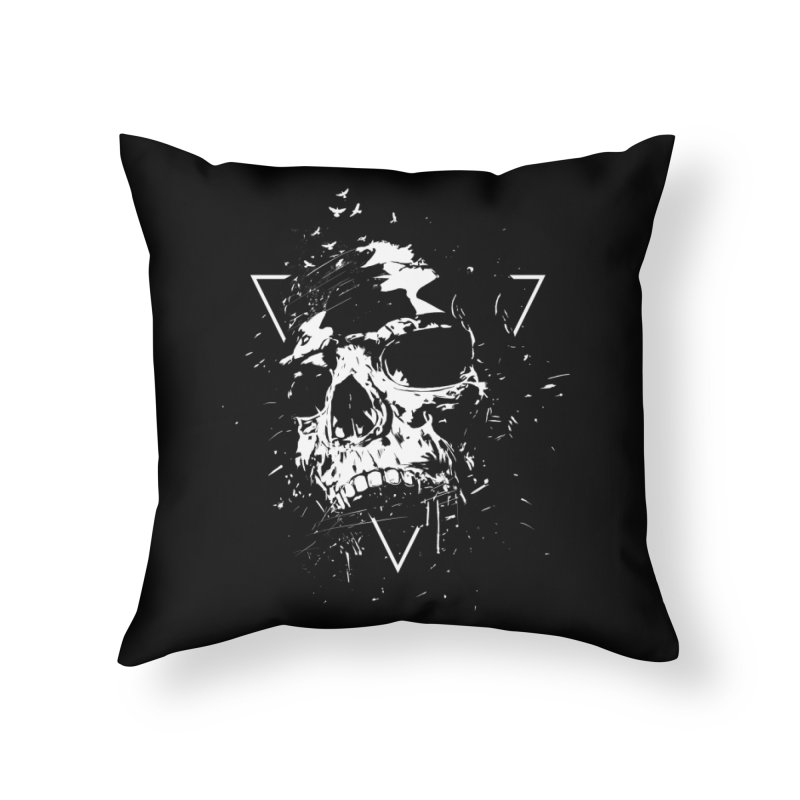 Skull X (bw) Home Throw Pillow by Balazs Solti