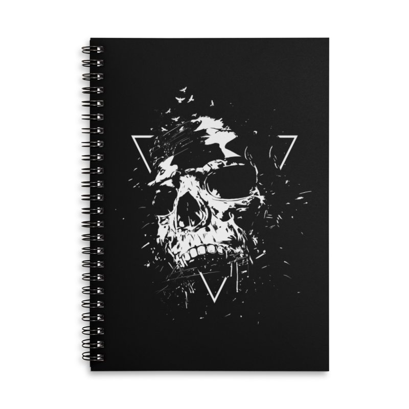 Skull X (bw) Accessories Lined Spiral Notebook by Balazs Solti