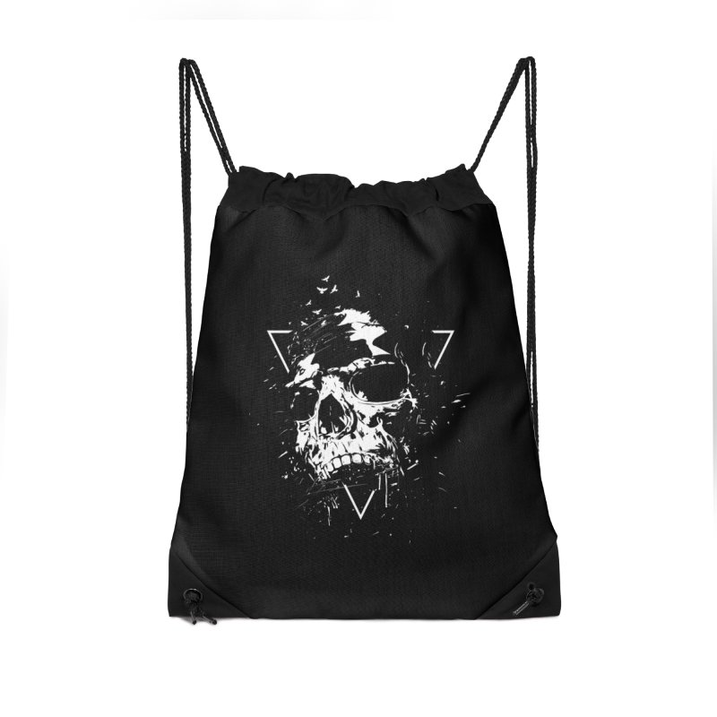 Skull X (bw) Accessories Drawstring Bag Bag by Balazs Solti
