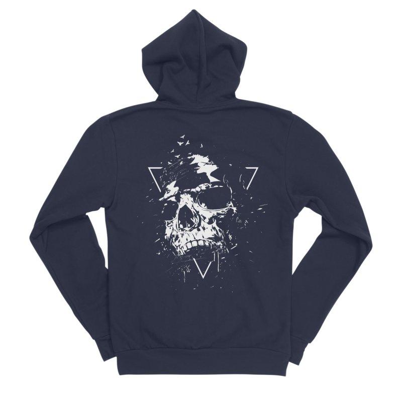 Skull X (bw) Men's Sponge Fleece Zip-Up Hoody by Balazs Solti