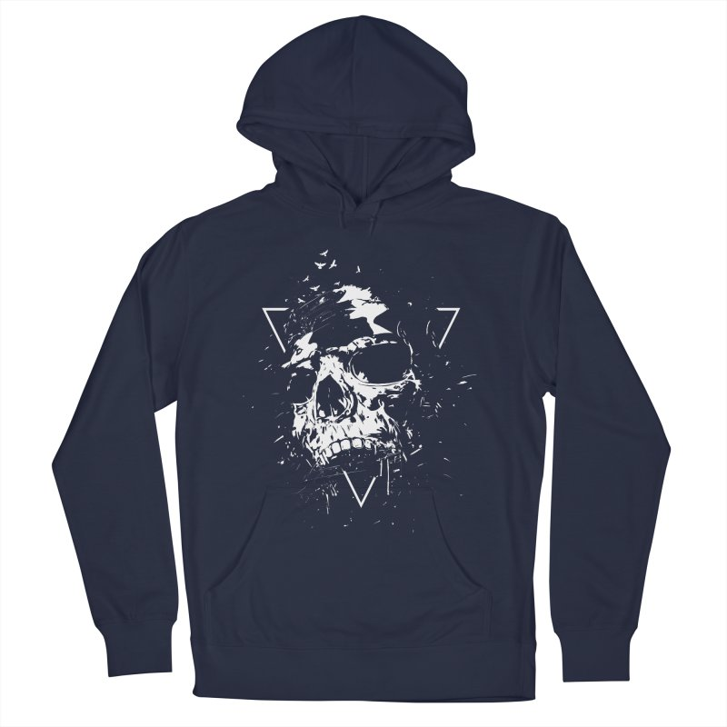 Skull X (bw) Men's French Terry Pullover Hoody by Balazs Solti