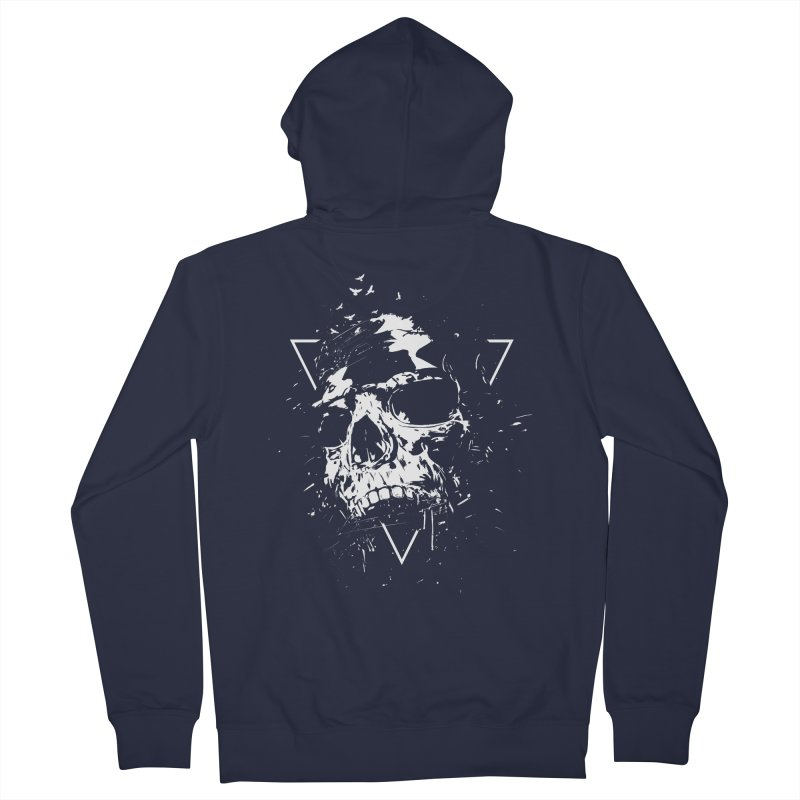 Skull X (bw) Women's French Terry Zip-Up Hoody by Balazs Solti