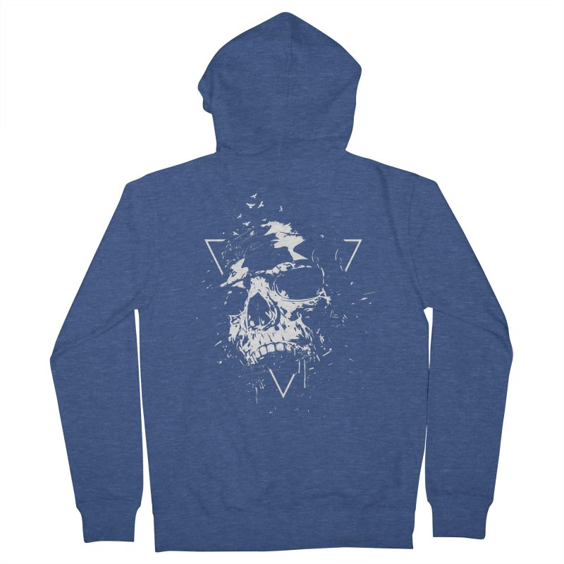 Skull X (bw) Men's French Terry Zip-Up Hoody by Balazs Solti