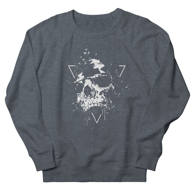 Skull X (bw) Men's French Terry Sweatshirt by Balazs Solti