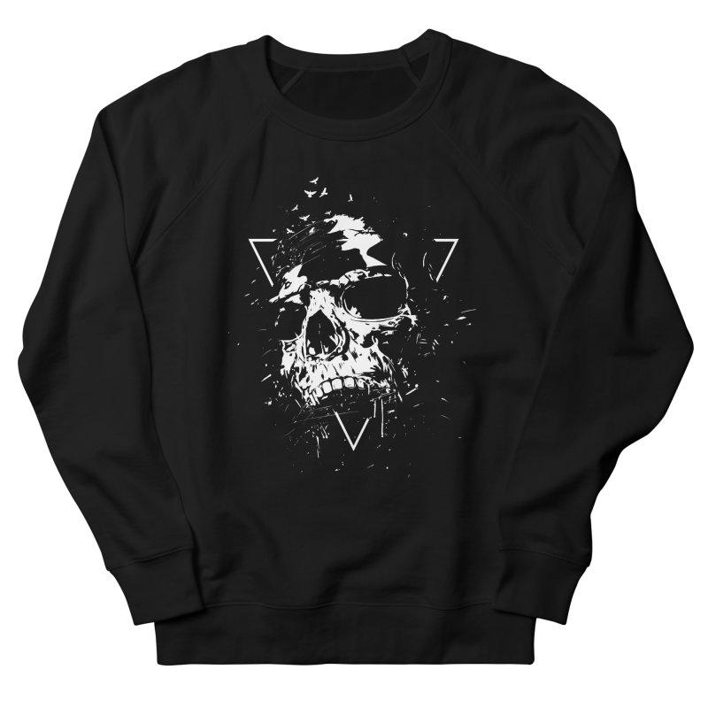 Skull X (bw) Men's French Terry Sweatshirt by Balazs Solti
