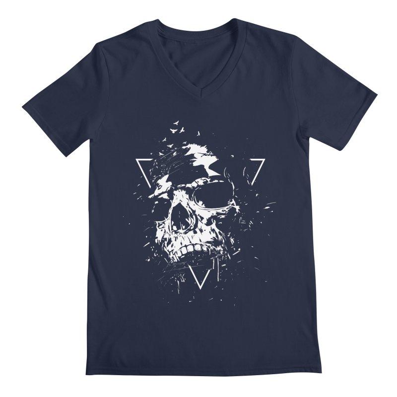 Skull X (bw) Men's Regular V-Neck by Balazs Solti