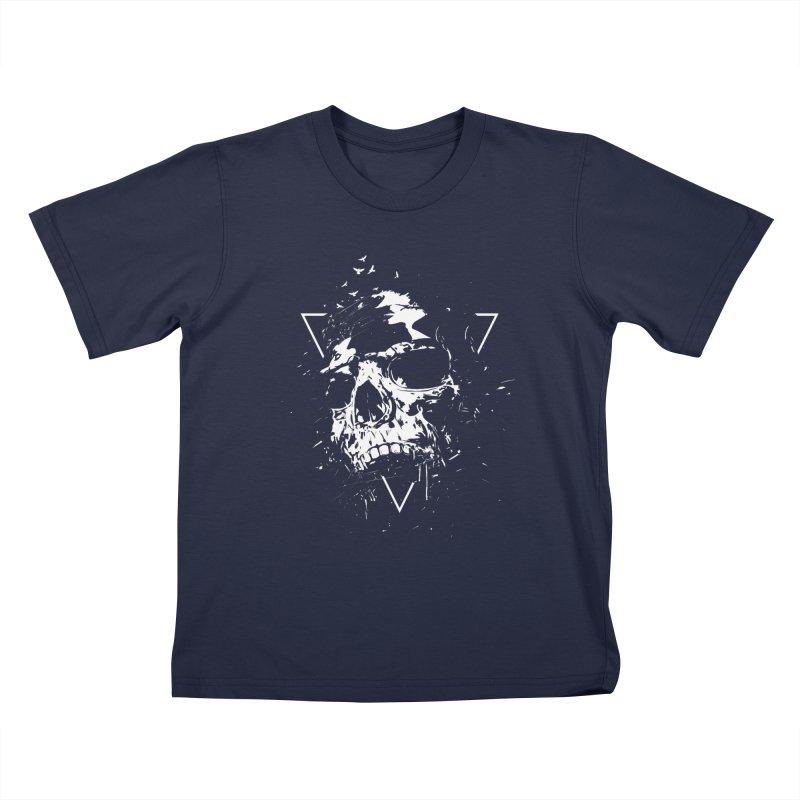 Skull X (bw) Kids T-Shirt by Balazs Solti