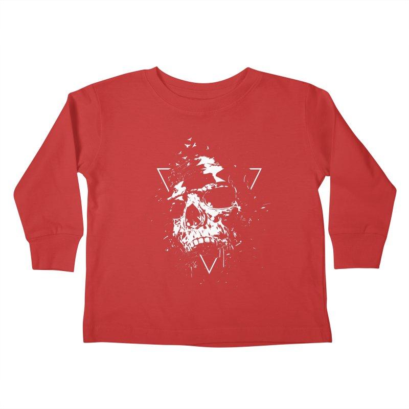 Skull X (bw) Kids Toddler Longsleeve T-Shirt by Balazs Solti