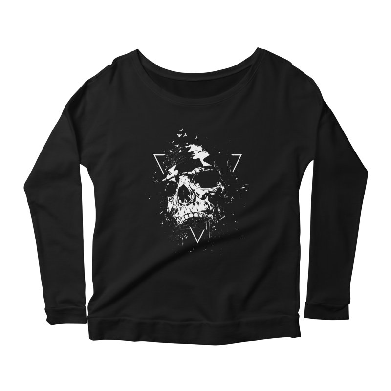 Skull X (bw) Women's Scoop Neck Longsleeve T-Shirt by Balazs Solti
