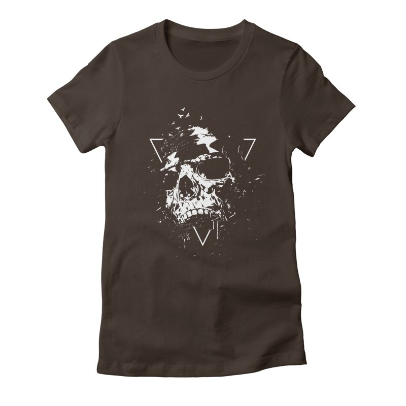 Skull X (bw) Women's Fitted T-Shirt by Balazs Solti
