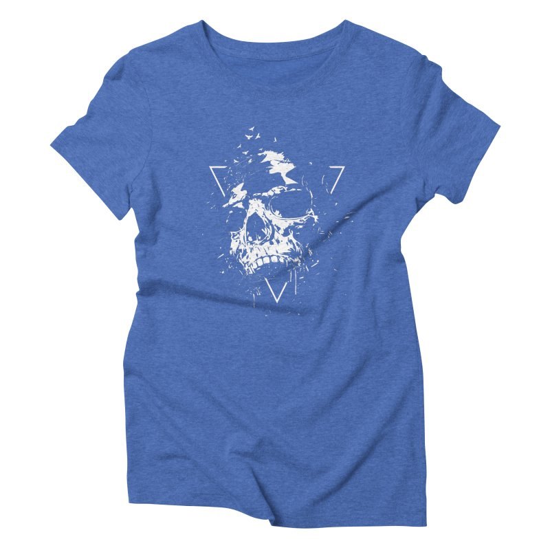 Skull X (bw) Women's Triblend T-Shirt by Balazs Solti