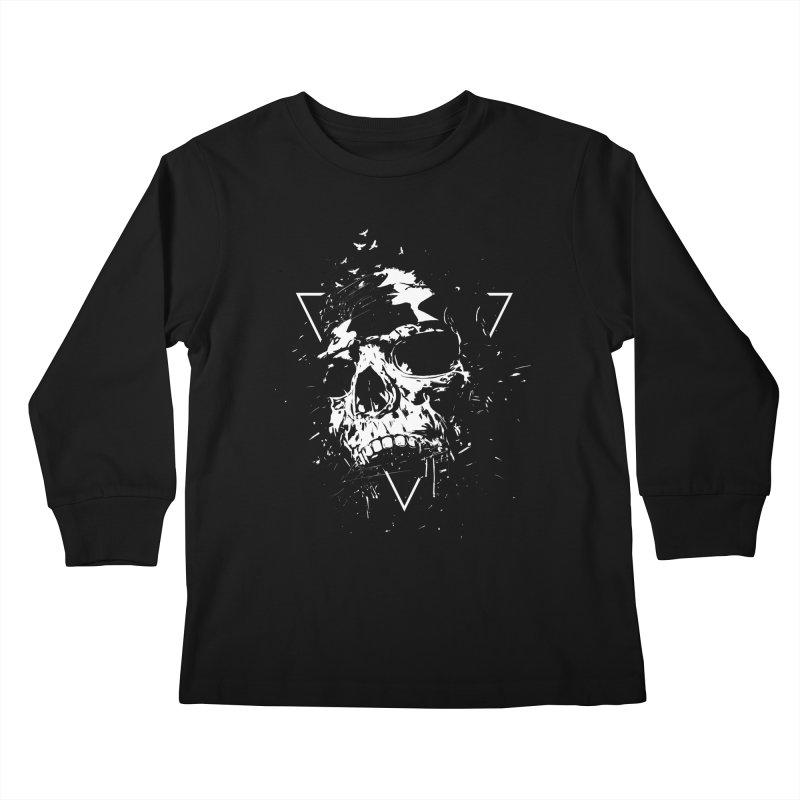 Skull X (bw) Kids Longsleeve T-Shirt by Balazs Solti
