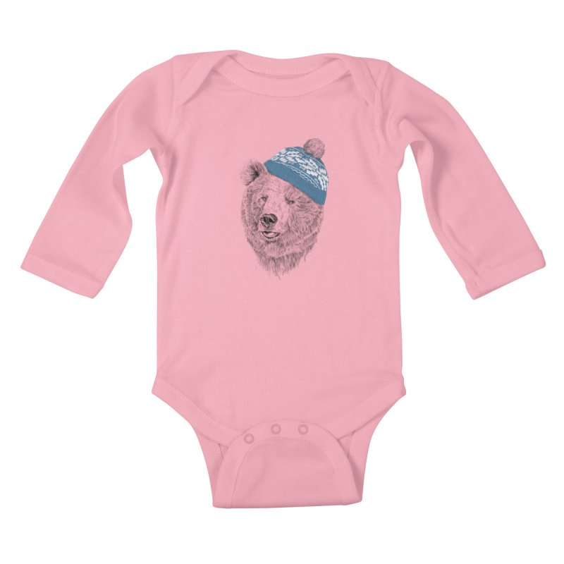 Hello Winter Kids Baby Longsleeve Bodysuit by Balazs Solti
