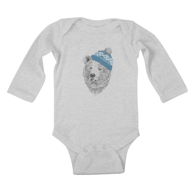 Hello Winter Kids Baby Longsleeve Bodysuit by Balazs Solti