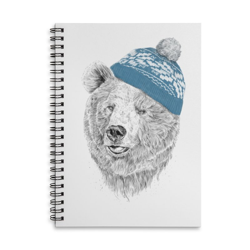 Hello Winter Accessories Lined Spiral Notebook by Balazs Solti