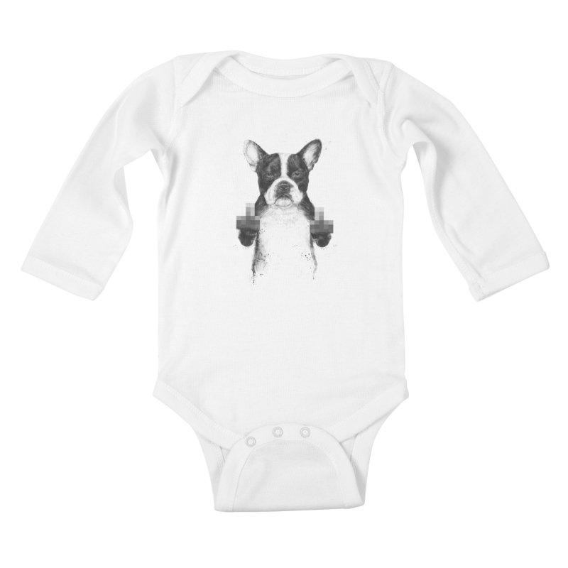 Censored dog Kids Baby Longsleeve Bodysuit by Balazs Solti