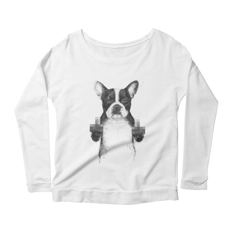 Censored dog Women's Scoop Neck Longsleeve T-Shirt by Balazs Solti